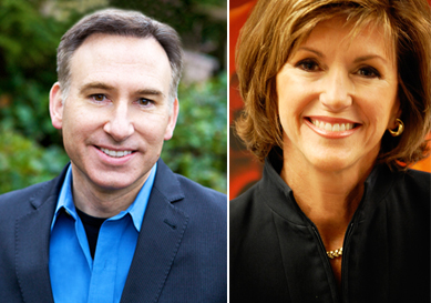 Dow Constantine (left) and Susan Hutchison