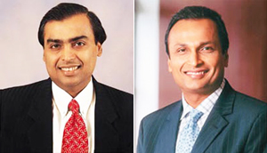 Mukesh Ambani (left) and Anil Ambani