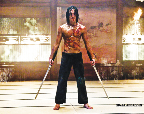 "One of the ""Ninja Assassin"" promotional movie posters featuring actor Rain"