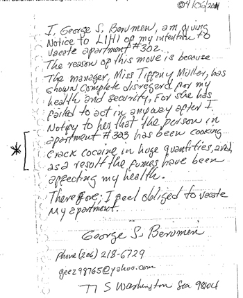 a copy of the letter george berumen wrote giving notice for vacation of his apartment it says i george s berumen am giving notice to lihi of my