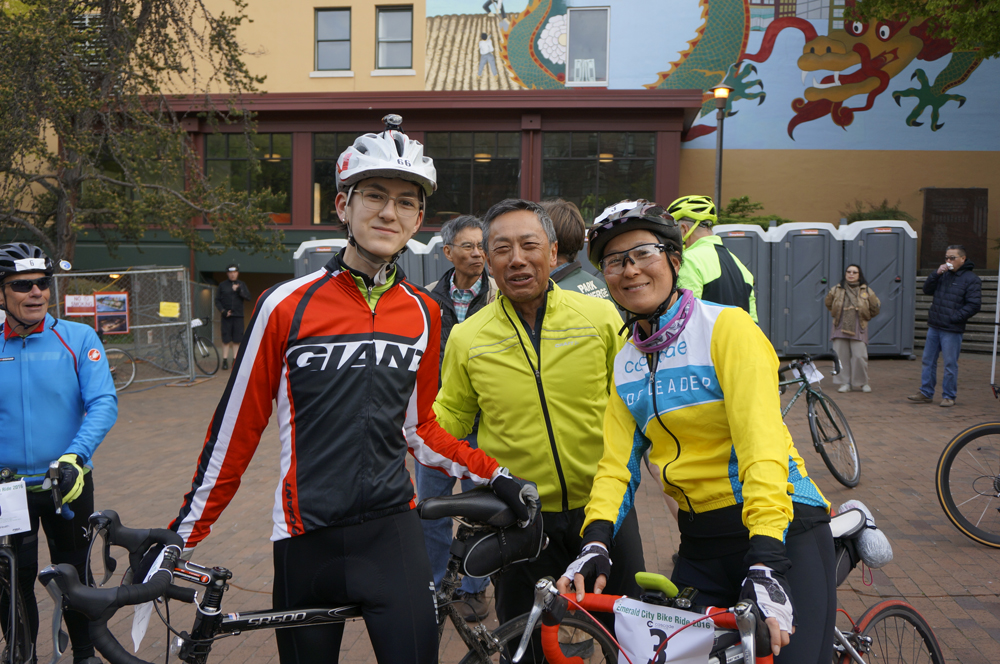 (from right) Machiko Shoji Threlkeld, Richard Huie, and Alder Threlkeld