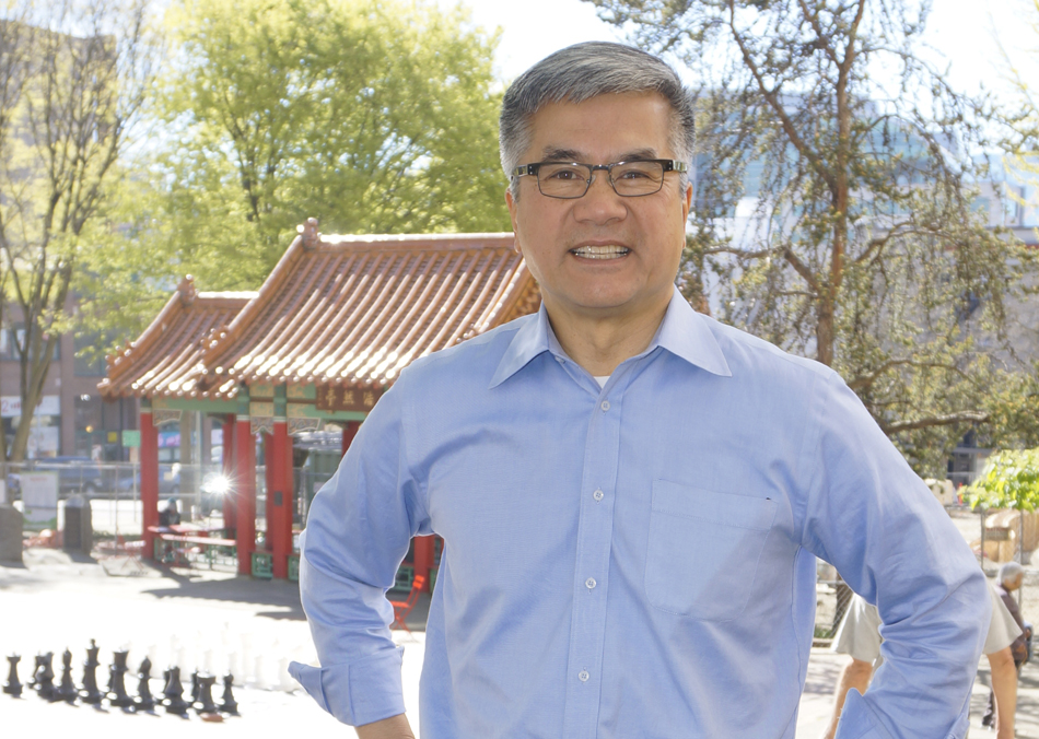 Gary Locke in front of Hing Hay Park on Thursday, March 31. (Photo by George Liu/NWAW)