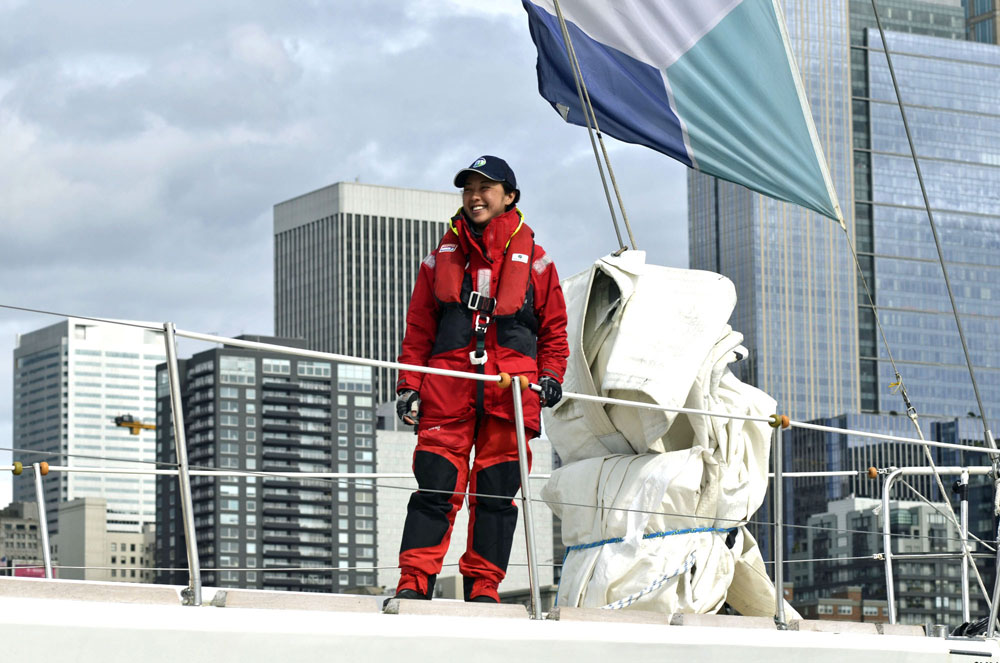 Yuko Kikuchi smiling as she sailed home to Seattle April 15. (Photo provided by Clipper Race)