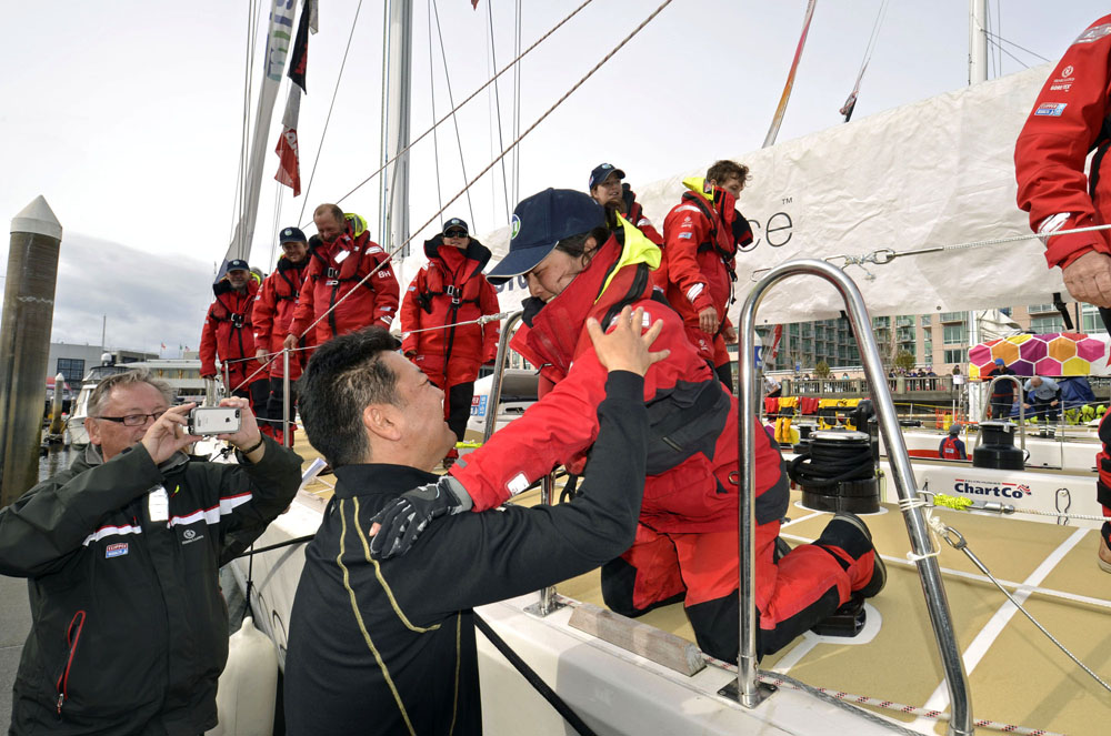 Yuko Kikuchi reunited with her husband. (Photo provided by Clipper Race)