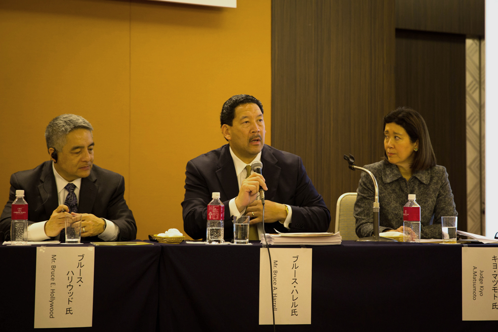 Bruce Harrell (center) speaking at the Japanese American Leadership Symposium (Provided by U.S.-Japan Council (USJC))
