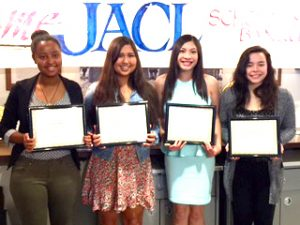 From left: Hana Arega, Kioko Soneda, Rosida Mohamathno, and Kristen Cunningham. Ayaka Iwata (not pictured) also received a scholarship. (Photo by Photo by Elsie Taniguchi)
