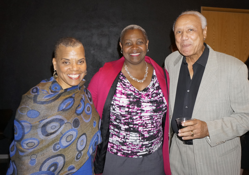 From left: Dr. Paula Houston (Sound Generations CEO), Sheila Edwards Lange (Seattle Central College President), and Lenny Wilkens (former Seattle SuperSonics head coach).  (Photo by George Liu/NWAW)