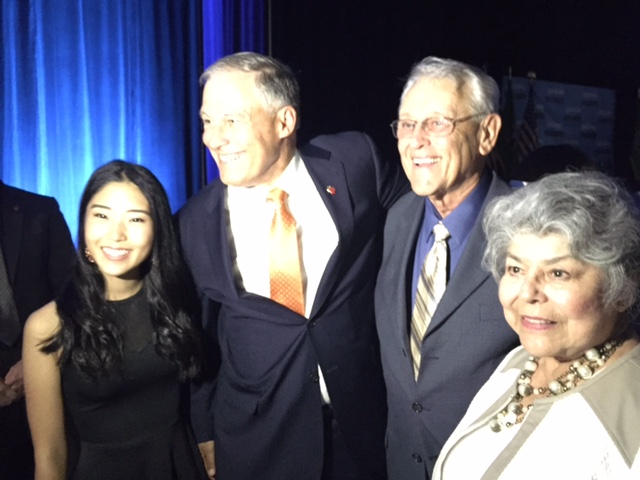 From left: Meili Zhang, Gov. Jay Inslee, Evan and Elizabeth Inslee