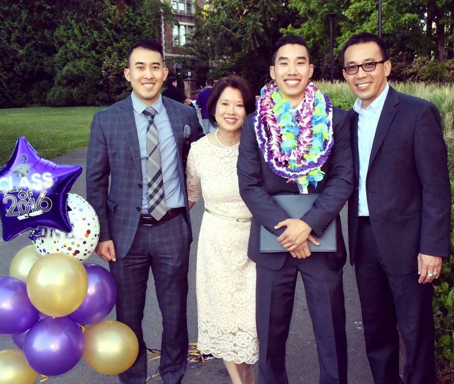 Brandon Hadi (third from left) with brother Daniel, mom Sirima, and dad Asmara.