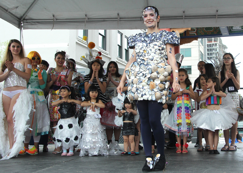 1st place winning design by Rebecca Bartenetti, a dress made of seashells and duct tape. (Photo by Eugene Tagawa)