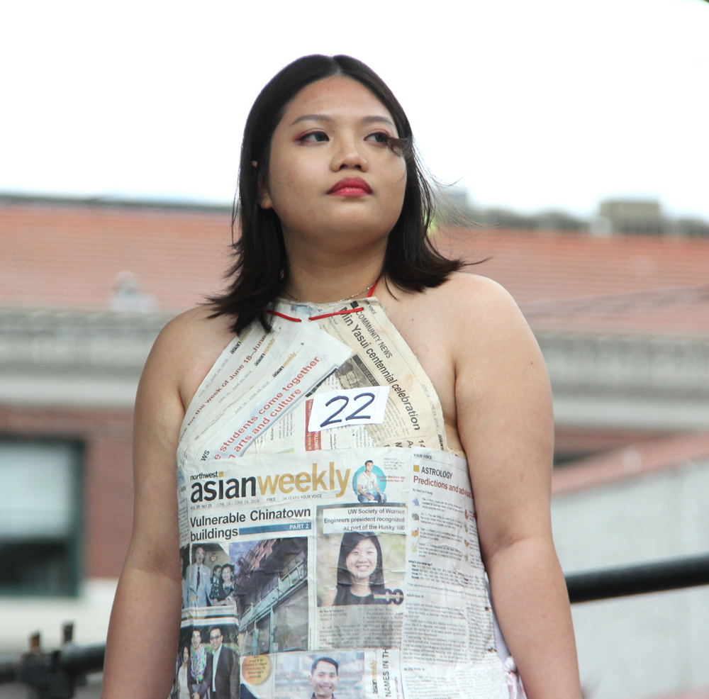 Designed by Hai Nguyen. A halter top made of Northwest Asian Weekly newspapers, inspired by cheongsam — a traditional Chinese dress.
