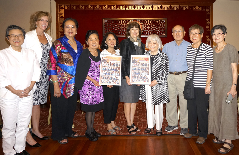 From left: Jane Nishita, Julia Coleman, Shiao Yen Wu, Winnie Lee, Teresita Batayola, Jill Wakefield, Hon. Phyllis G. Kenney, Dr. Peter and Sophia Ku, and Evelyn Yenson. (Photo by George Liu/NWAW)
