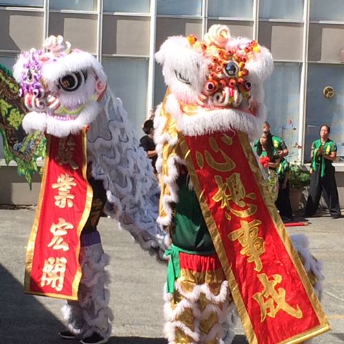 Students of the Wudang Internal Arts Academy performing a traditional Chinese lion dance. (Photo by Tim Gruver/NWAW)