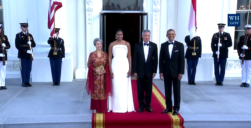 President Obama and Michelle Obama welcome Singapore's Prime Minister and his wife to the White House. (Screencap from White House YouTube video)