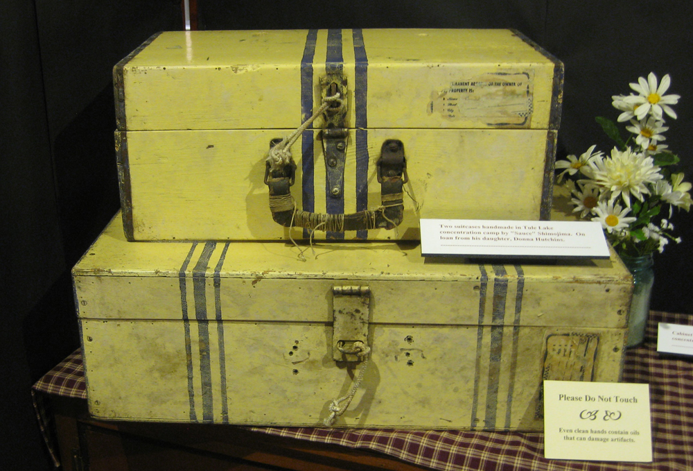 Suitcases handmade by Sauce Shimojima during his incarceration at Tule Lake. (Photo by Arlene Kiyomi Dennistoun/NWAW)