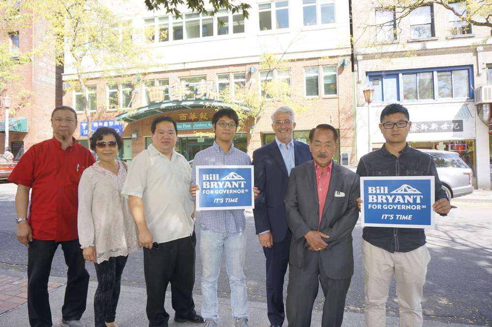 Bill Bryant and supporters in the International District (Photo by George Liu/NWAW)