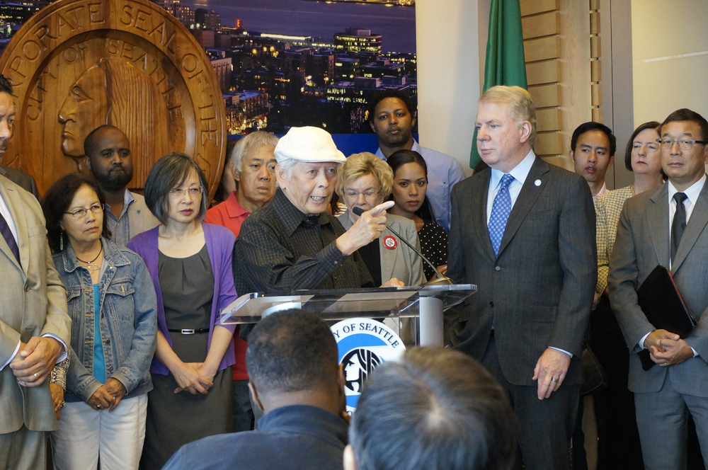 Santos addressing the media at a city announcement on the crackdown on hookah lounges. (Photo by George Liu)