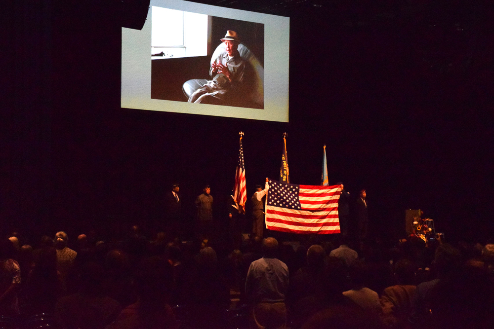 Flag folding ceremony at Santos' remembrance on Sept. 23. (Photo by George Liu/NWAW)