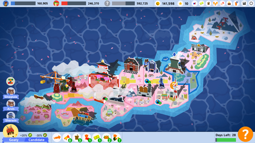 "A map of 'Spring Island' as seen in 'Political Animals,' a level loosely based on Japan. (Courtesy screenshot of ""Political Animals"" from Ryan Sumo.)"