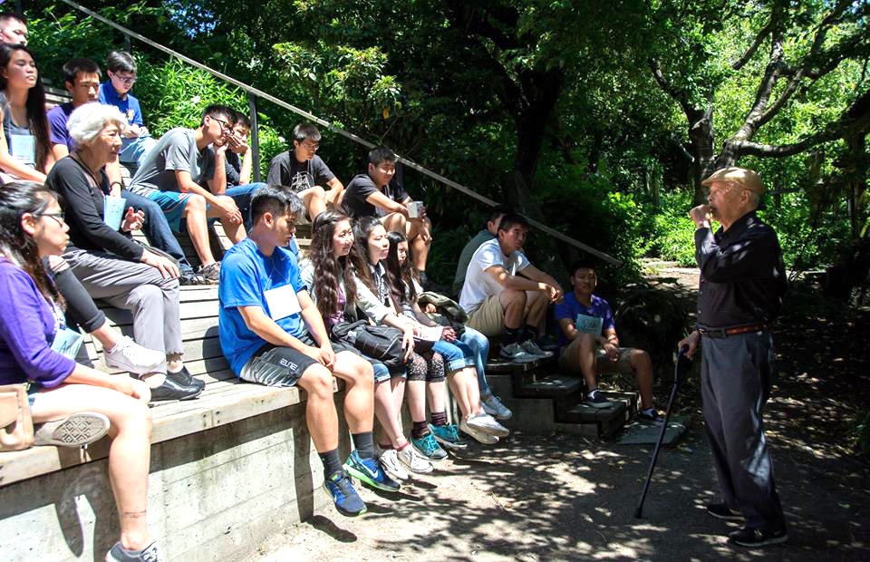 Bob Santos and Northwest Asian Weekly's Summer Youth Leadership Program participants at Danny Woo Garden. (Photo by Clarence Leung)