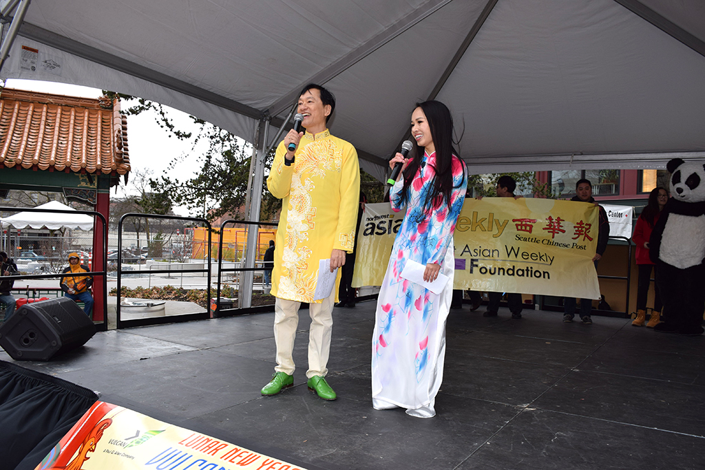 Emcees Gary Tang (left) and Thu Ngo (right). (Photo by George Liu/NWAW)