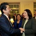 Sen. Maria Cantwell (right) shakes hands with Japanese Prime Minister Shinzo Abe on Feb. 10. (Photo by U.S. Chamber of Commerce)