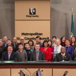 Members of the Japanese-American community join the Metropolitan King County Council after Councilmembers recognized the 75th Anniversary of the signing of Executive Order 9066.