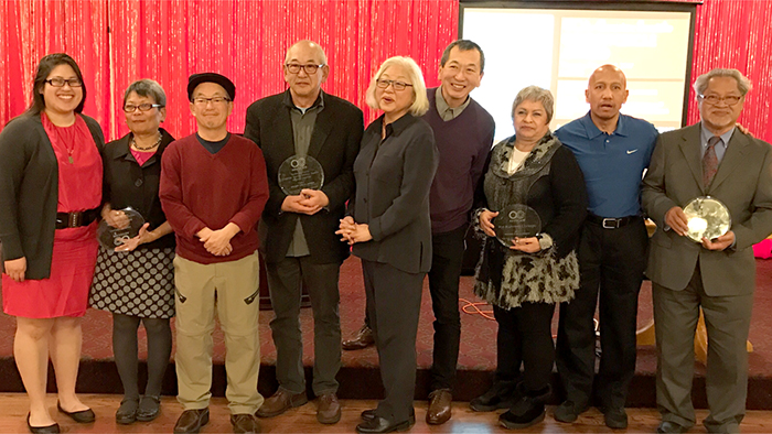 OCA President Jacqueline Wu (left) with honorees. (Photo by Penny Fukui)