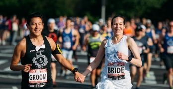 Couple runs half marathon on wedding day